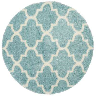 Montreal Shag Light Blue/Ivory 6 ft. 7 in. x 6 ft. 7 in. Round Area Rug