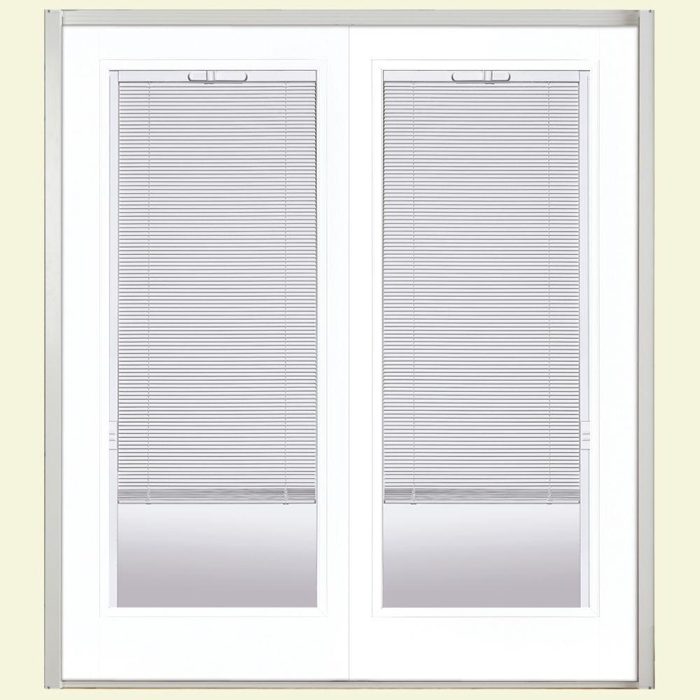Masonite 72 in. x 80 in. Ultra White Prehung Right-Hand Inswing Mini Blind Steel Patio Door with No Brickmold