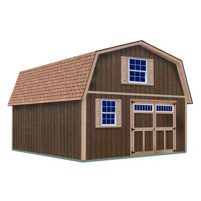 Virginia 16 ft. x 36 ft. x 16-1/4 ft. 2 Story Wood Shed Kit without Floor