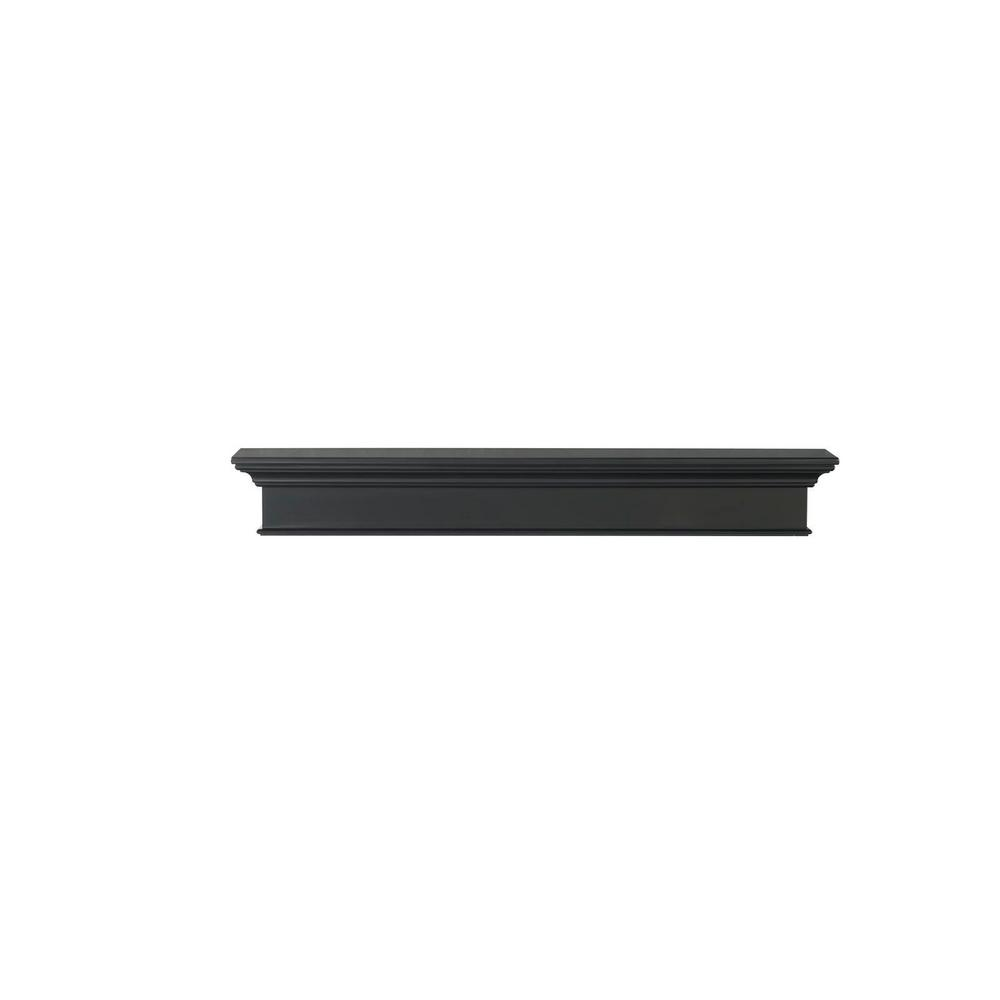 Henry 5 ft. Black Paint MDF Distressed Cap-Shelf Mantel