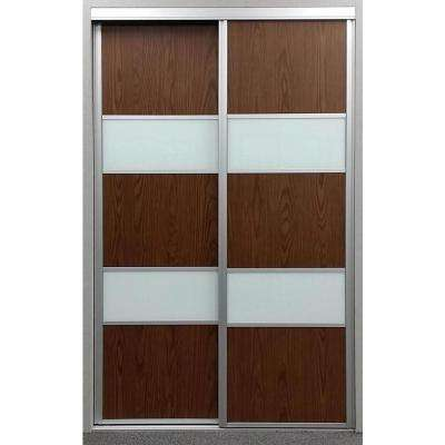 sequoia walnut and painted glass aluminum interior sliding door