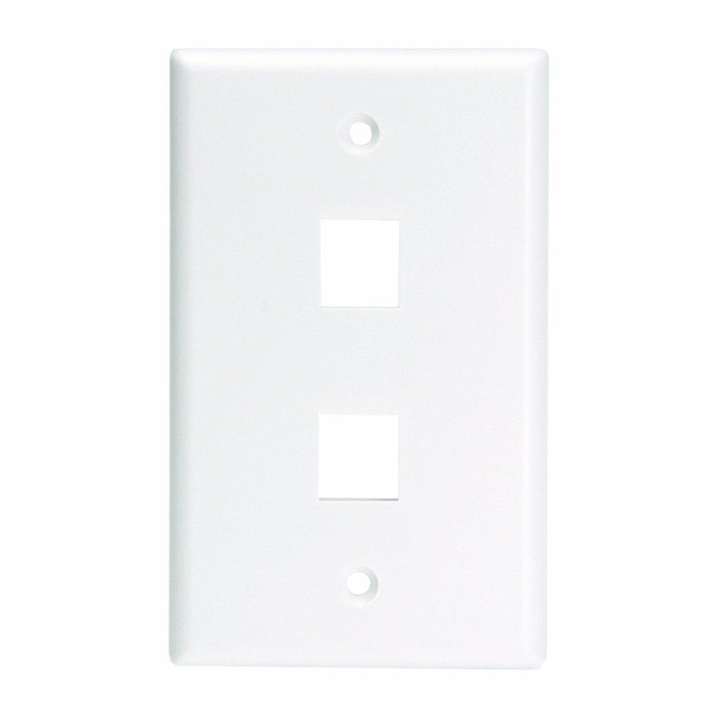 1-Gang QuickPort Standard Size 2-Port Wallplate for Large Connectors, White