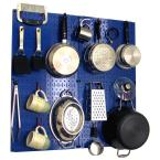 Kitchen Pegboard 32 in. x 32 in. Metal Peg Board Pantry Organizer Kitchen Pot Rack with Blue Pegboard and Red Peg Hooks
