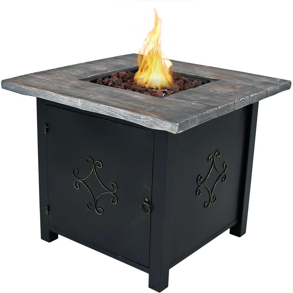 Sunnydaze Decor 30 in. Square Propane Gas Fire Pit Table with Lava Rocks