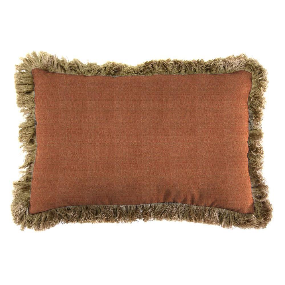 Sunbrella 19 in. x 12 in. Linen Chili Lumbar Outdoor Throw Pillow with Heather Beige Fringe