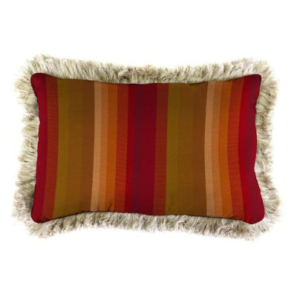 Sunbrella 19 in. x 12 in. Astoria Sunset Lumbar Outdoor Throw Pillow with Canvas Fringe