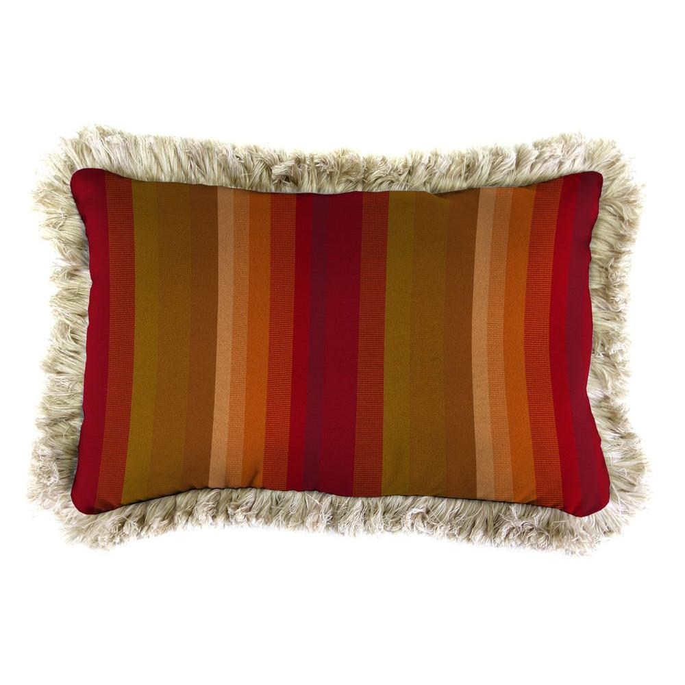 Jordan Manufacturing Sunbrella 19 in. x 12 in. Astoria Sunset Outdoor Throw Pillow with Canvas Fringe