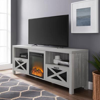 70 in. Stone Gray Composite TV Stand Fits TVs Up to 80 in. with Electric Fireplace