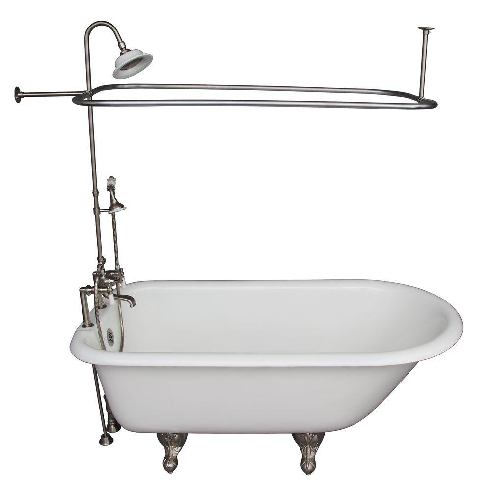 Barclay Products 5 ft. Cast Iron Ball and Claw Feet Roll Top Tub in White with Brushed Nickel Accessories