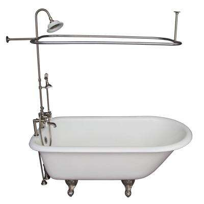 5 ft. Cast Iron Ball and Claw Feet Roll Top Tub in White with Brushed Nickel Accessories