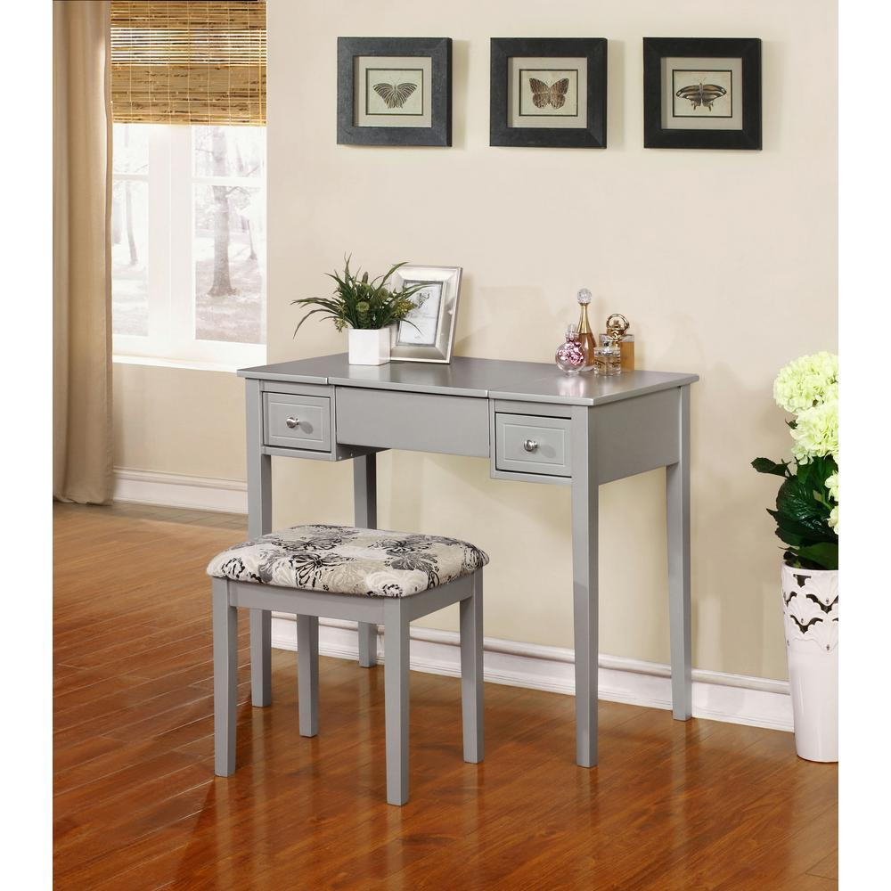 Linon Home Decor 2-Piece Silver Vanity Set & Linon Home Decor 2-Piece Silver Vanity Set-98135SIL01 - The Home Depot