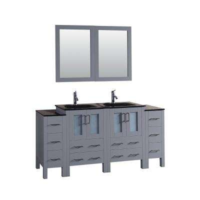 Bosconi 72 in. Double Vanity in Gray with Vanity Top in Black, Black Basin and Mirror