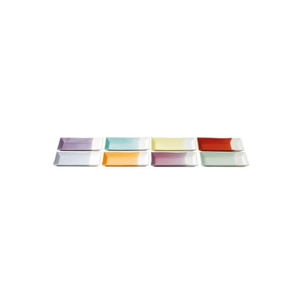 RD 1815 Assorted Colors 9.8 in.W x 1 in. H x 4.5 in. D  Porcelain Tapas Serving Tray Set (8-Piece Set)