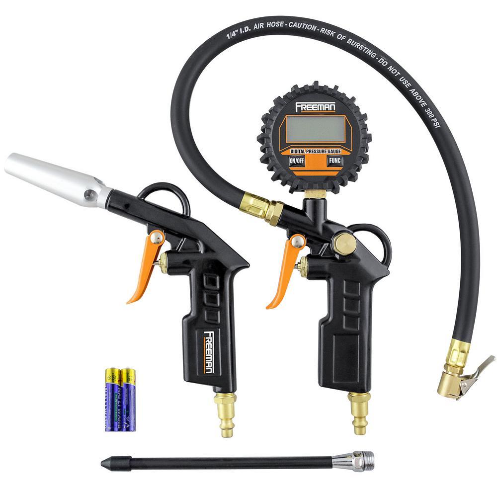 Freeman Digital Tire Inflator and High Flow Blow Gun Kit