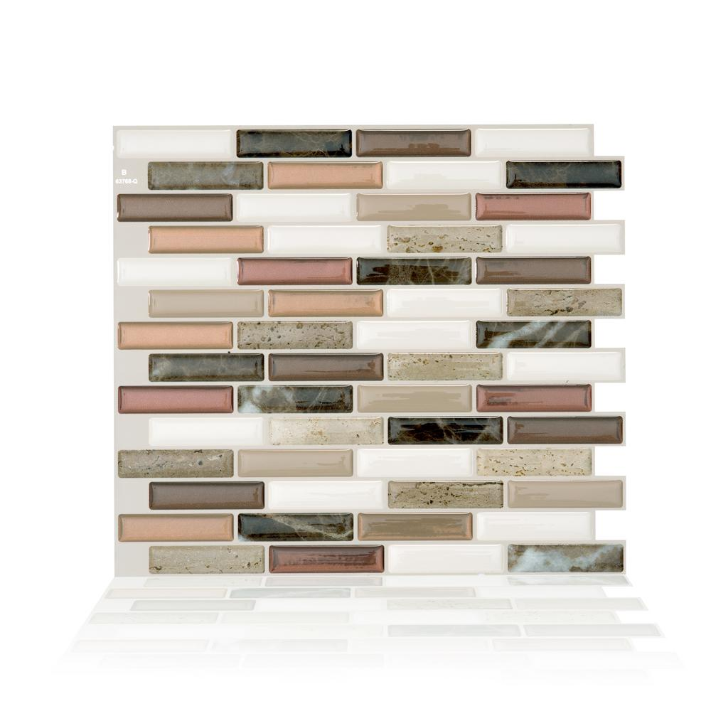 smart tiles Milenza Taddio 10.20 in. W x 9.00 in. H Peel and Stick Self-Adhesive Decorative Mosaic Wall Tile Backsplash (4-Pack), Dark Brown Marble/ was $30.44 now $13.53 (56.0% off)