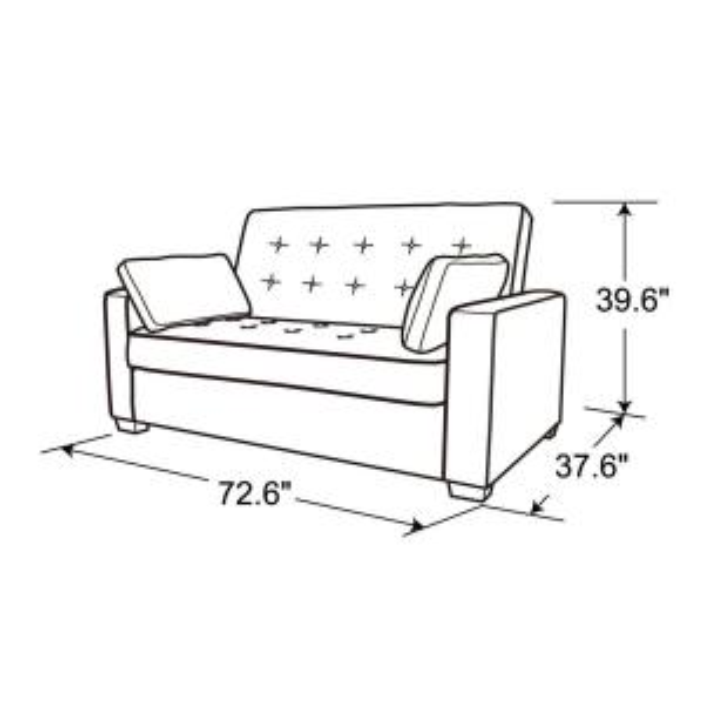 Serta Augustus Microfiber Convertible Sofa, Queen Size Bed ...