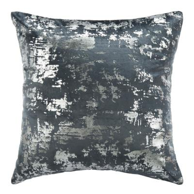 Edmee Midnight Blue and Silver Solid Polyester 20 in. x 20 in. Throw Pillow