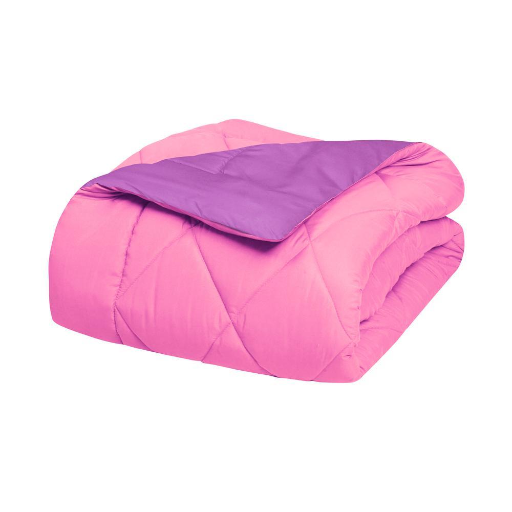 Elegant Comfort Down Alternative Pink and Purple Reversible Full/Queen Comforter