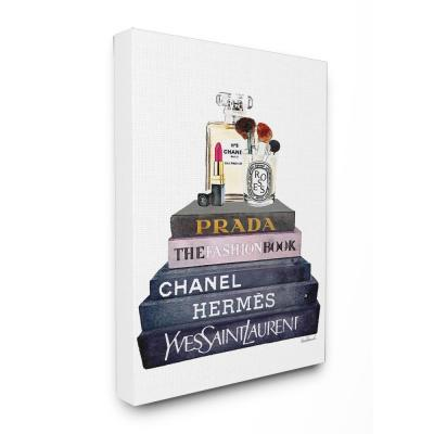 """30 in. x 40 in. """"Glam Fashion Book Set With Makeup"""" by Amanda Greenwood Printed Canvas Wall Art"""