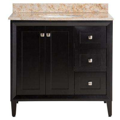 Austell 37 in. W x 38 in. H x 22 in. D Bath Vanity in Black with Stone Effects Vanity Top in Tuscan Sun with White Sink
