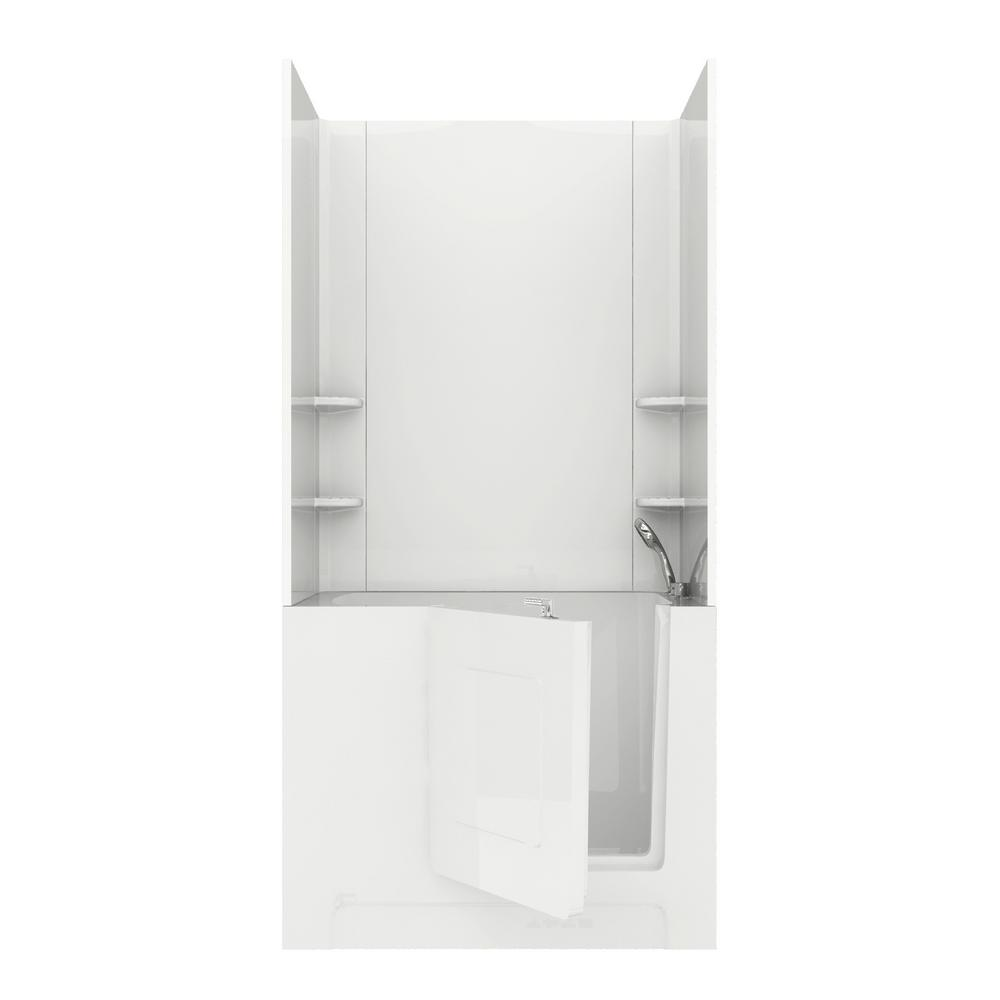 Rampart 4 ft. Walk-in Air Bathtub with Easy Up Adhesive Wall