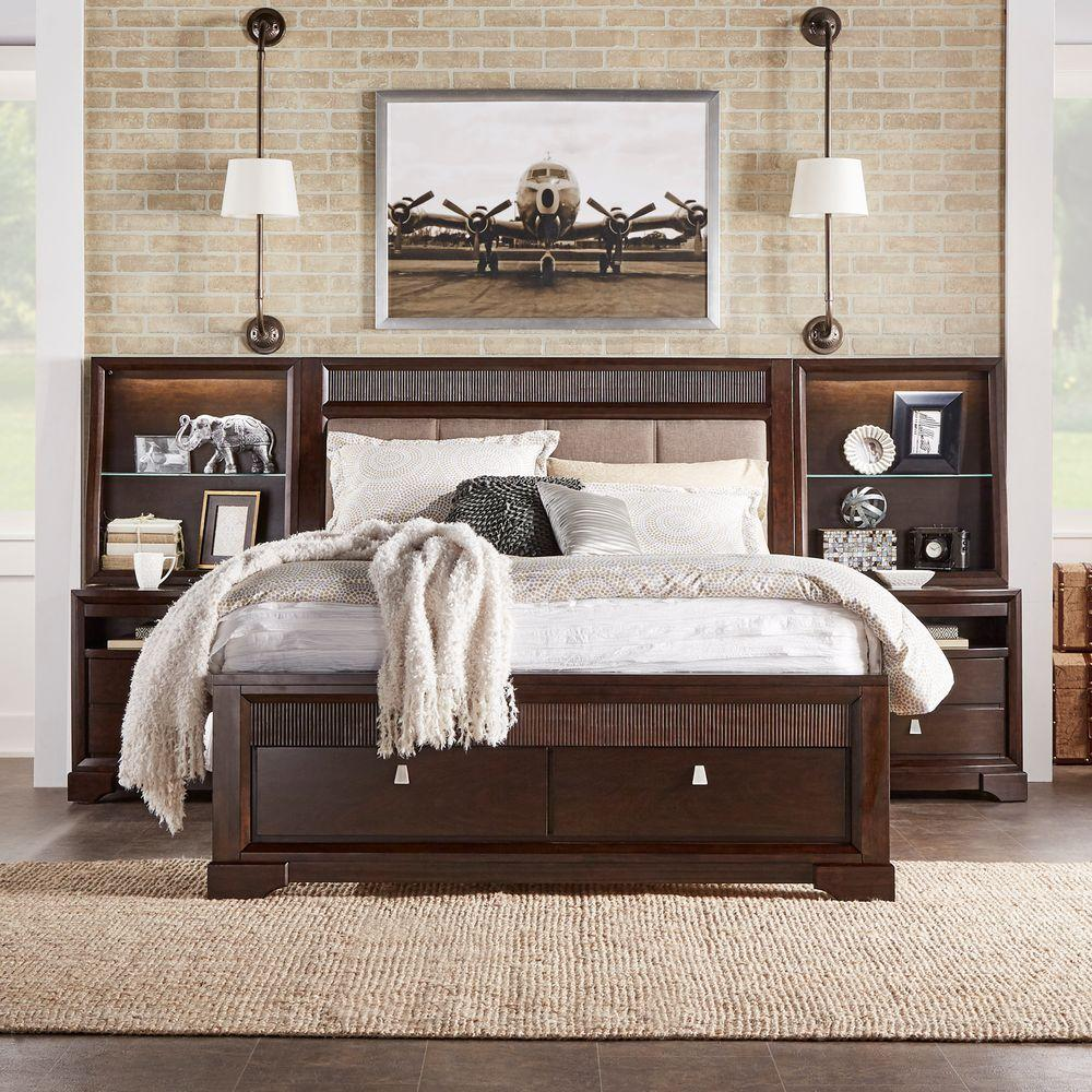 HomeSullivan Nichols 3-Piece Brown Queen Bedroom Set 40313BQ-13PC2NH ...