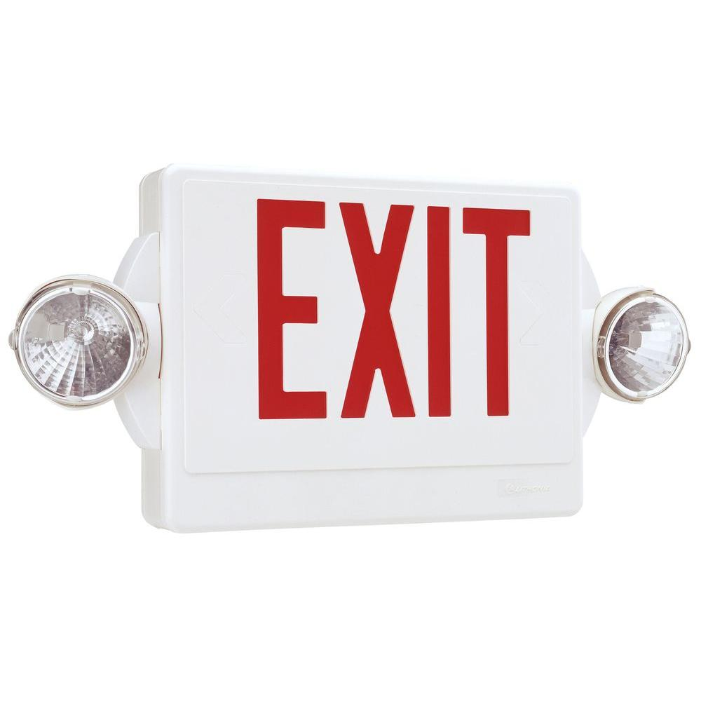Lithonia lighting quantum 2 light white and red exit sign emergency light lhqm s w 3 r m4 the for Exterior emergency exit lights