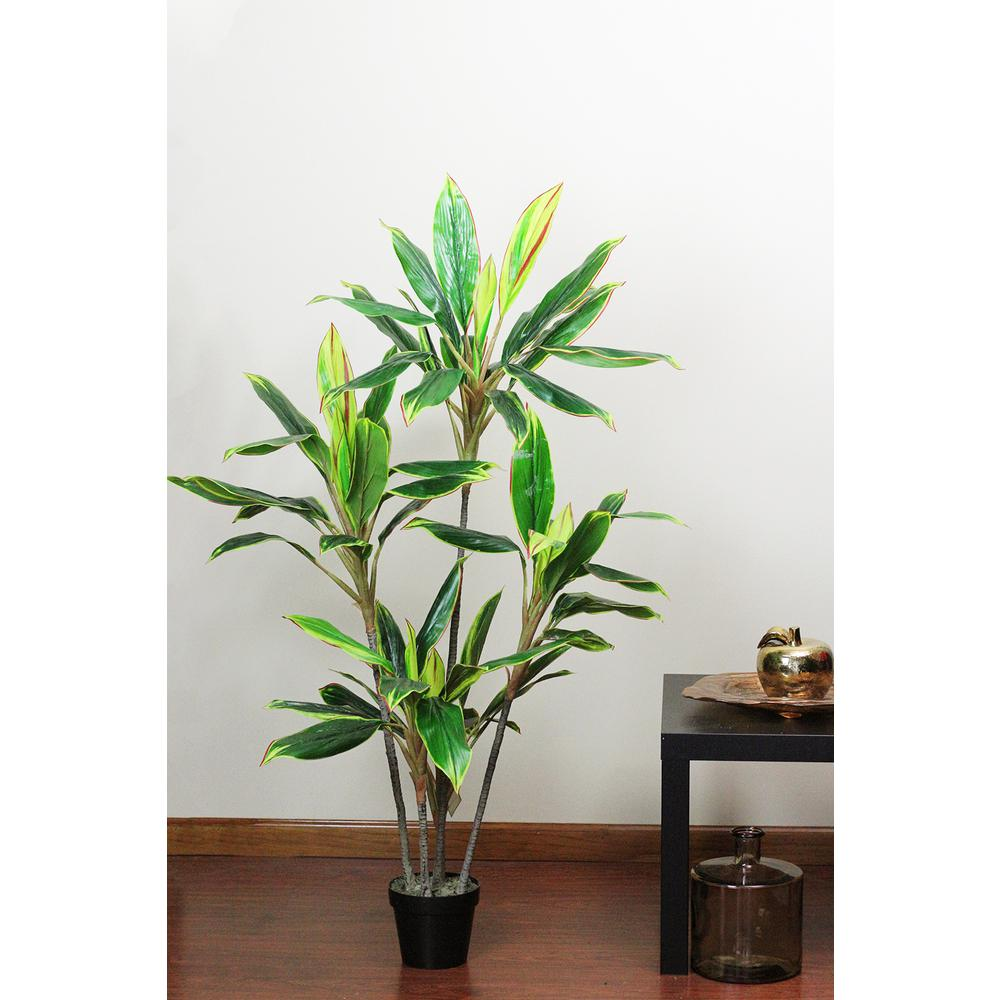 55.25 in. Artificial Dracaena Plant in Pot, Green