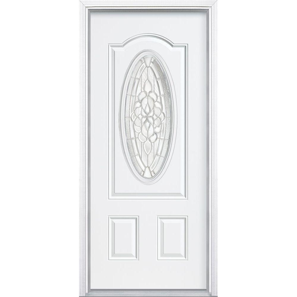 Masonite 36 in. x 80 in. Oakville 3/4 Oval Lite Primed Steel Prehung Front Door with Brickmold