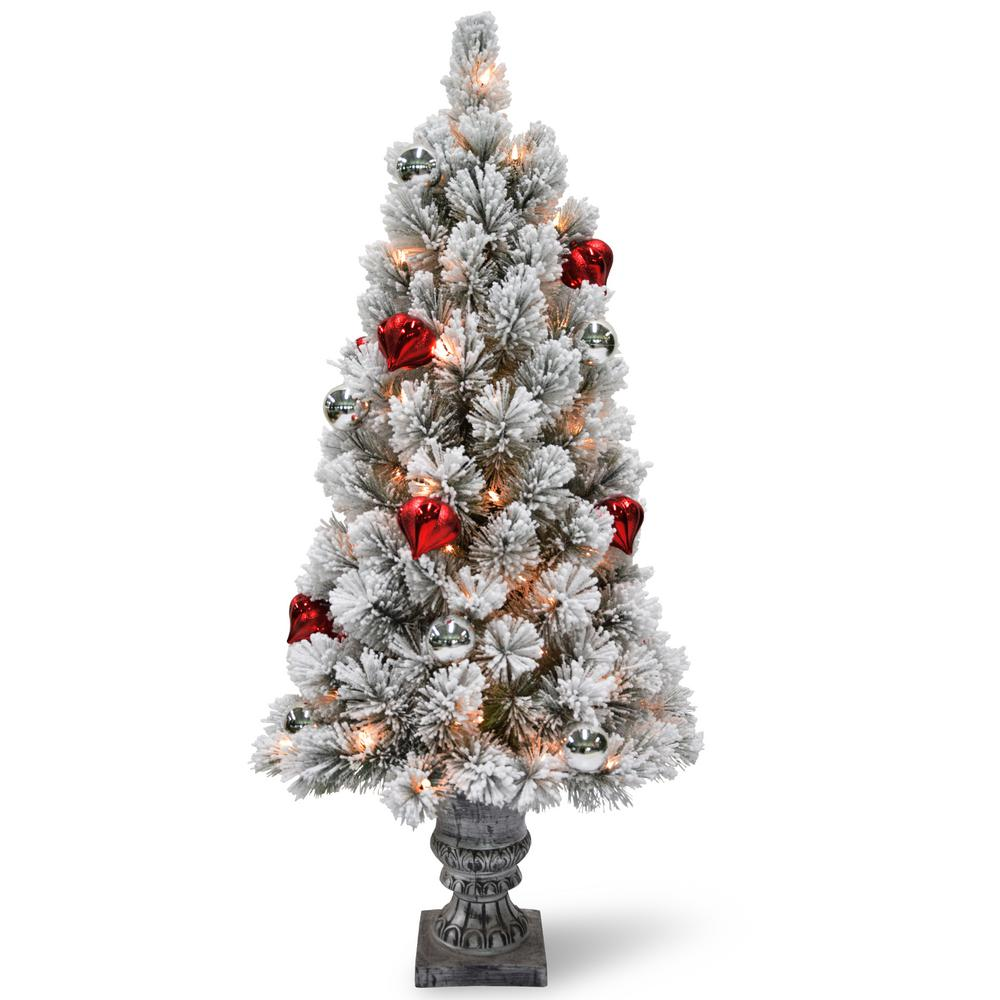 3 ft. Snowy Bristle Pine Tabletop Tree with Battery Operated LED
