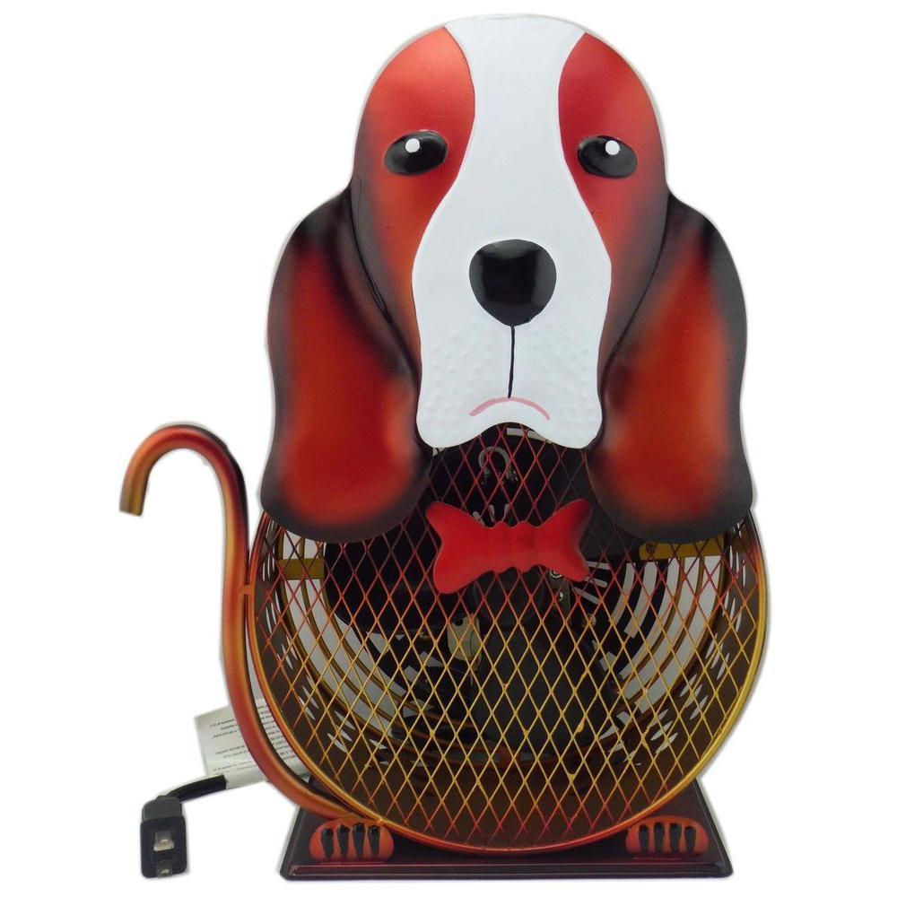 8.5 in. Himalayan Breeze Decorative Basset Hound table Fan (Medium)