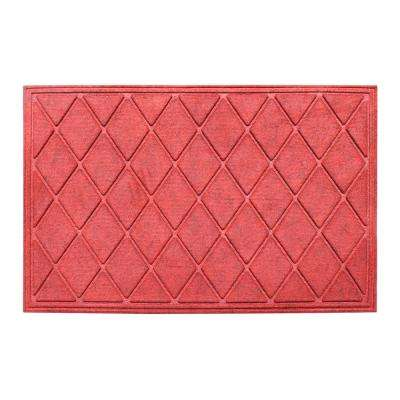 A1HC Diamond Red 24 in. x 36 in. Eco-Poly Scraper Mats with Anti-Slip Fabric Finish and Tire Crumb Backing