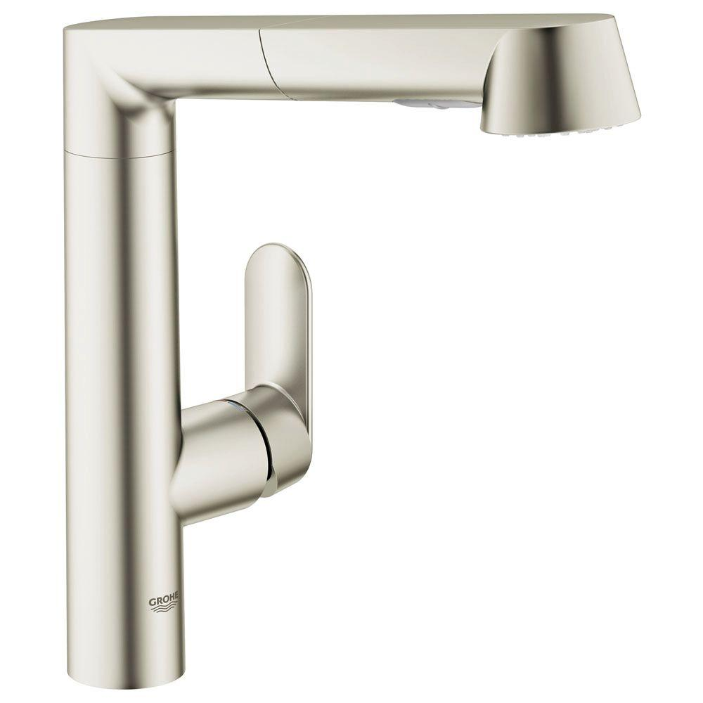 GROHE LadyLux Cafe Plus Single-Handle Pull-Out Sprayer Kitchen ...