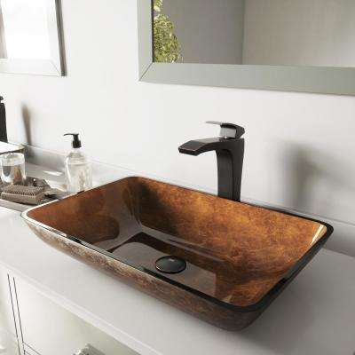 Glass Vessel Bathroom Sink in Russet and Blackstonian Faucet Set in Antique Rubbed Bronze