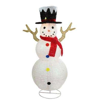 48 in. Christmas Pre-Lit Glitter Snowflake Snowman with Top Hat Outdoor Decoration