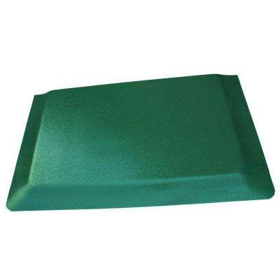 Hide Double Sponge Pebble Brushed Green Surface 24 in. x 36 in. Vinyl Kitchen Mat