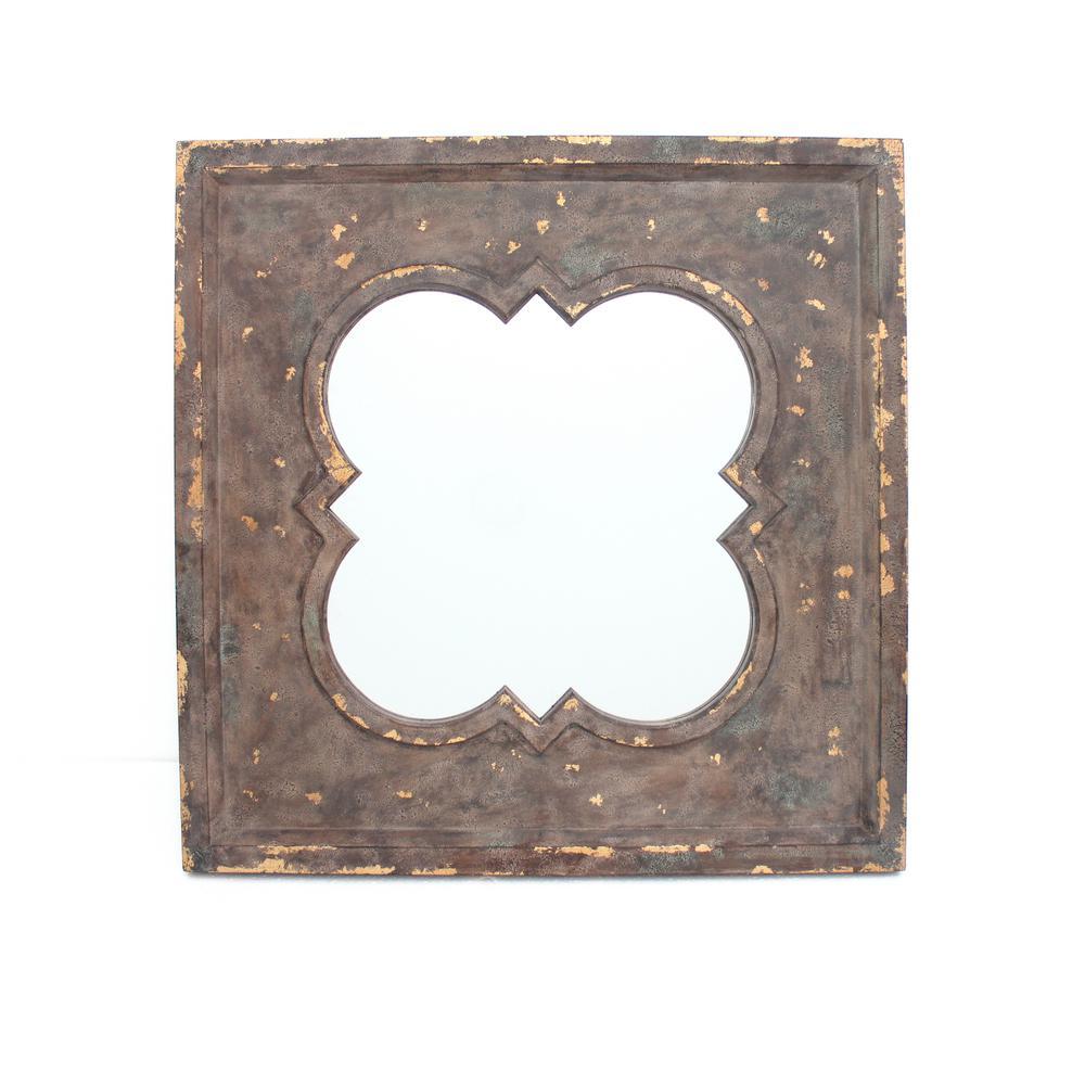 Distressed Brown Wood Wall Mirror