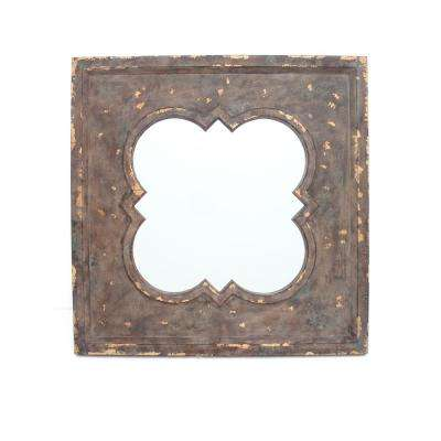 Distressed Brown Wood Wall Mirror