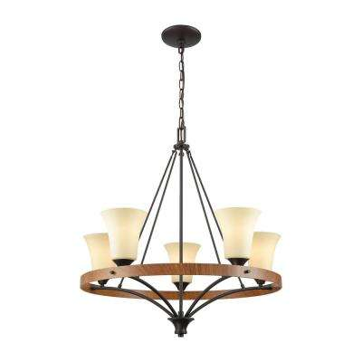 Park City 5-Light Oil Rubbed Bronze and Wood Grain Chandelier With Light Beige Scavo Glass Shades