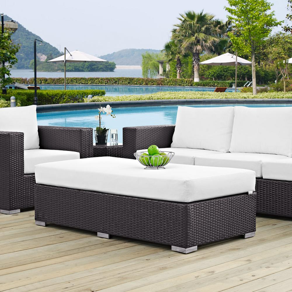 Convene Wicker Outdoor Patio Fabric Rectangle Ottoman in Espresso with White