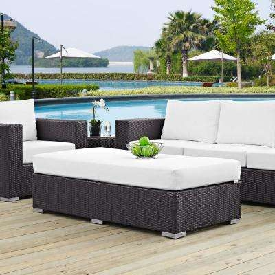 Convene Wicker Outdoor Patio Fabric Rectangle Ottoman in Espresso with White Cushion