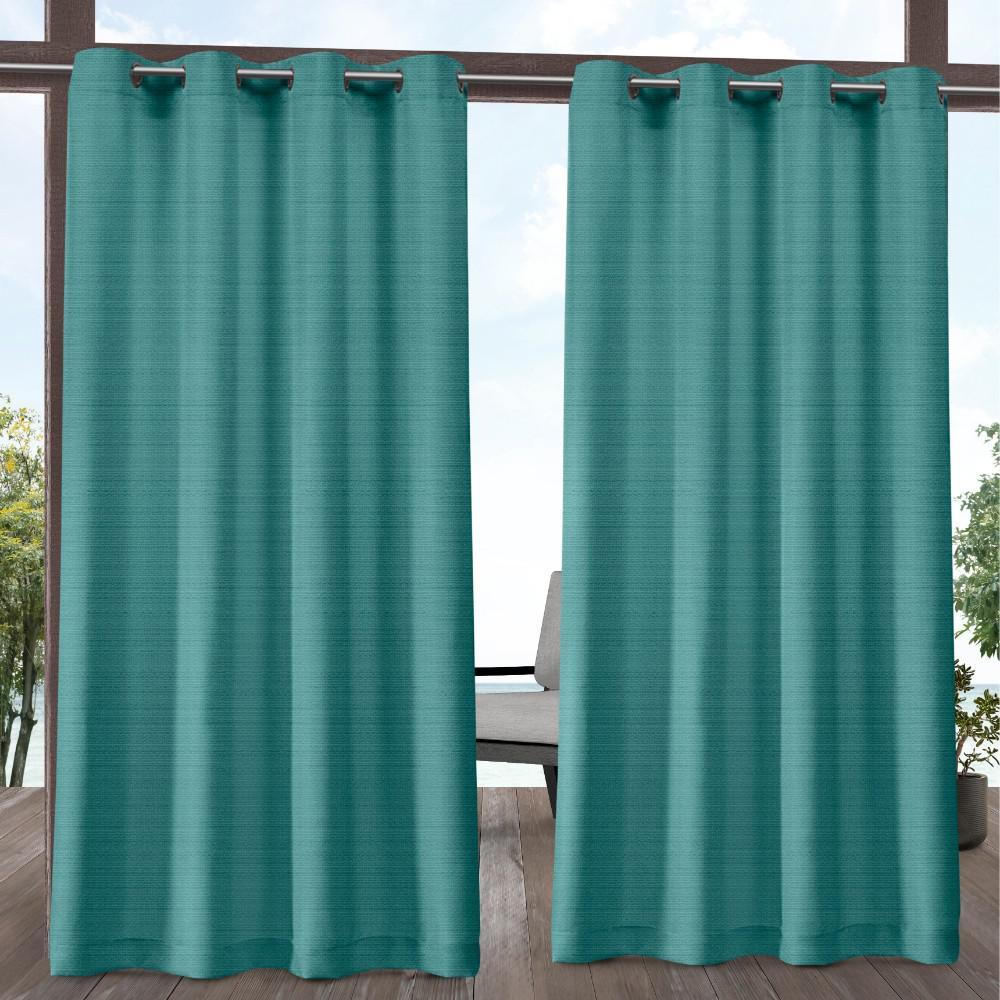 Aztec 54 in. W x 84 in. L Indoor Outdoor Grommet Top Curtain Panel in Teal (2 Panels)