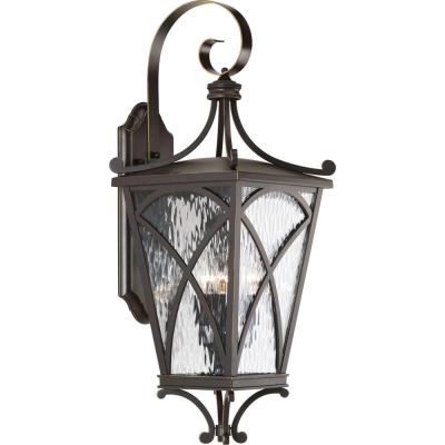 Cadence Collection 3-Light Oil Rubbed Bronze 26.6 in. Outdoor Wall Lantern Sconce