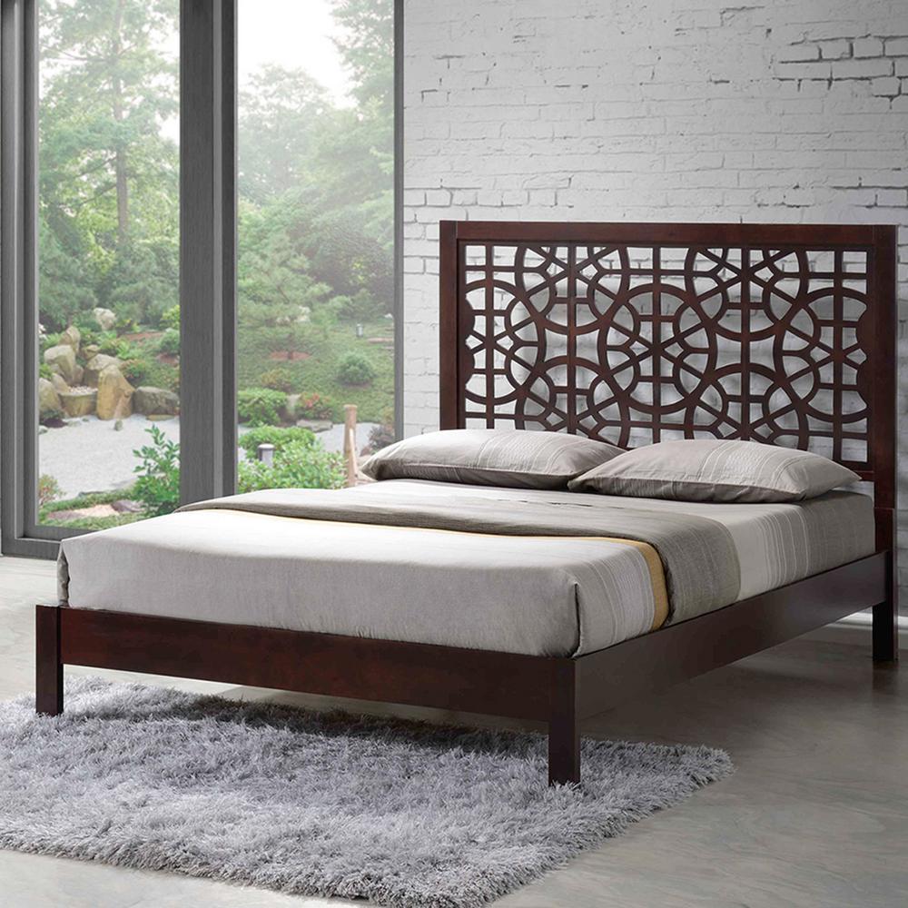 sakuro dark brown queen platform bed