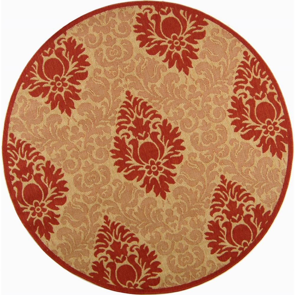 Safavieh Courtyard Natural/Red 6 ft. 7 in. x 6 ft. 7 in. Indoor/Outdoor Round Area Rug