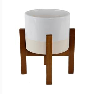 8 in. 2-Tone White Ceramic Pot on Wood Stand Mid-Century Planter