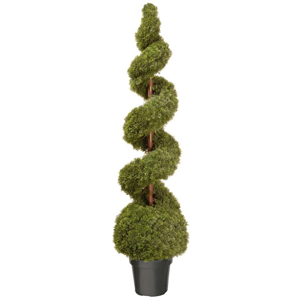 national tree company 60 in cedar spiral artificial tree with ball and dark green round