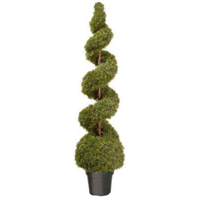 60 in. Cedar Spiral Artificial Tree with Ball and Dark Green Round Growers Pot
