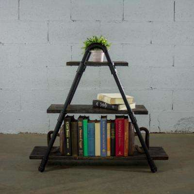 Charleston Industrial, Black 32 in. Decorative 3-Shelf Display Pipe Bookcase/Etagere-Metal Reclaimed/Aged Wood