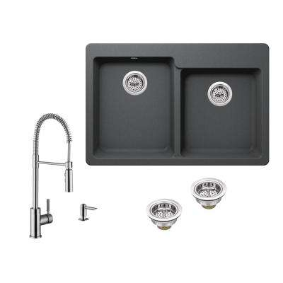 All-in-One Drop-in Granite Composite 33 in. 4-Hole 50/50 Double Bowl Kitchen Sink in Gray with Faucet in Brushed Nickel